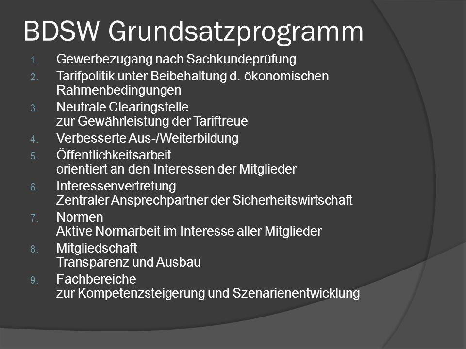 BDSW Grundsatzprogramm 1. Gewerbezugang nach Sachkundeprüfung 2. Tarifpolitik unter Beibehaltung d. ökonomischen Rahmenbedingungen 3. Neutrale Clearin