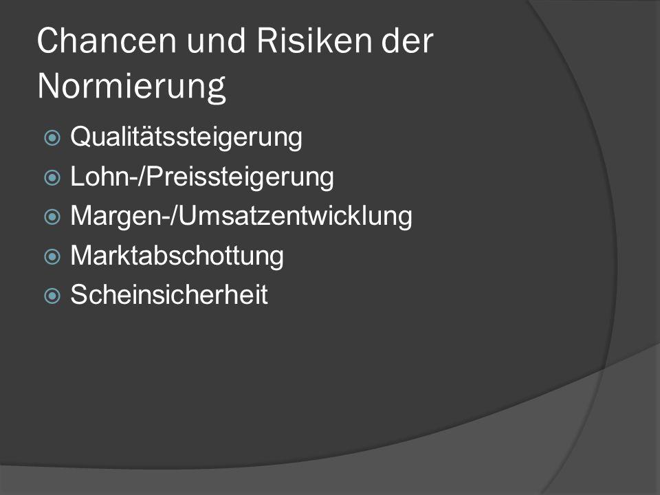 Chancen und Risiken der Normierung Qualitätssteigerung Lohn-/Preissteigerung Margen-/Umsatzentwicklung Marktabschottung Scheinsicherheit