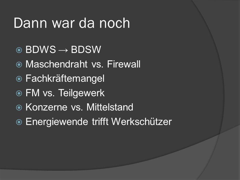 Dann war da noch BDWS BDSW Maschendraht vs. Firewall Fachkräftemangel FM vs. Teilgewerk Konzerne vs. Mittelstand Energiewende trifft Werkschützer