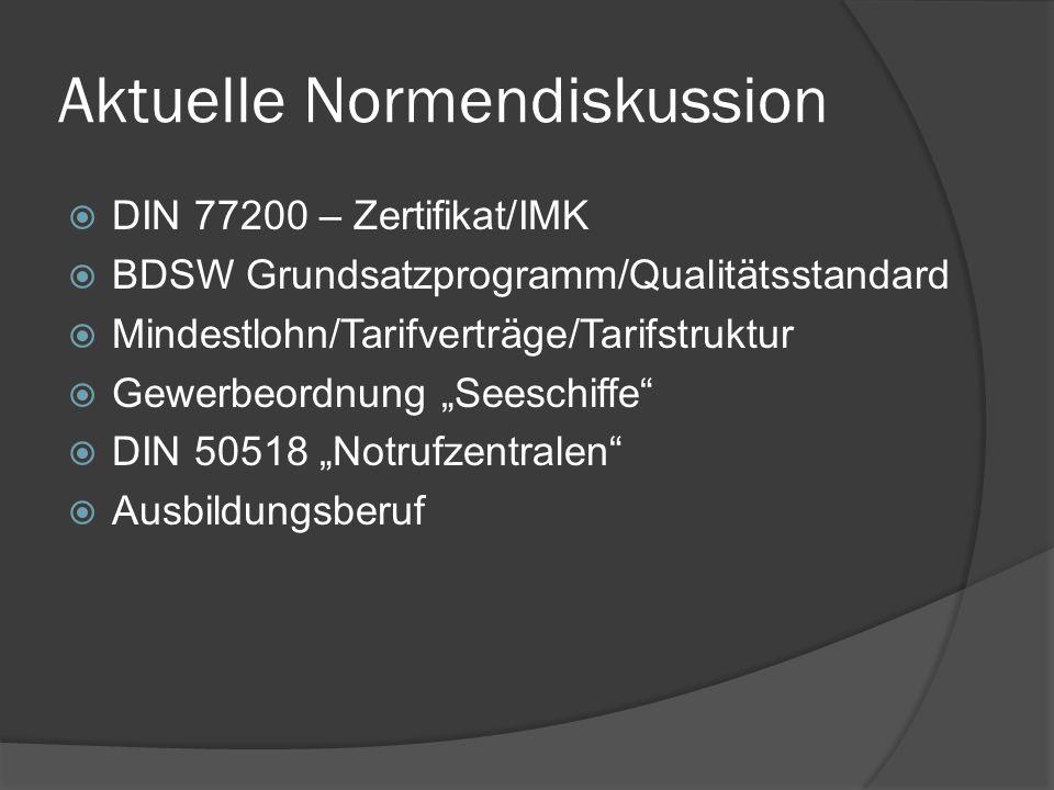 Aktuelle Normendiskussion DIN 77200 – Zertifikat/IMK BDSW Grundsatzprogramm/Qualitätsstandard Mindestlohn/Tarifverträge/Tarifstruktur Gewerbeordnung S