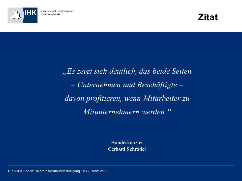 1. / 8. IHK-Forum: Mut zur Mitarbeiterbeteiligung / al / 7. März 2002 Zitat Es zeigt sich deutlich, das beide Seiten – Unternehmen und Beschäftigte –
