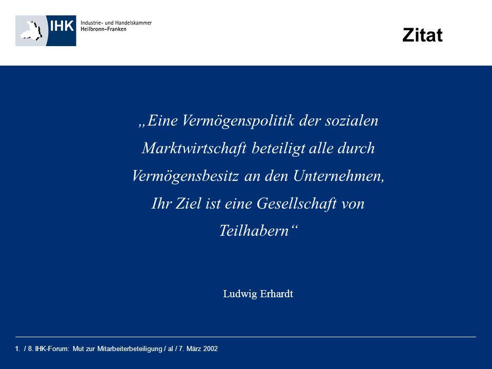1. / 8. IHK-Forum: Mut zur Mitarbeiterbeteiligung / al / 7. März 2002 Zitat Eine Vermögenspolitik der sozialen Marktwirtschaft beteiligt alle durch Ve