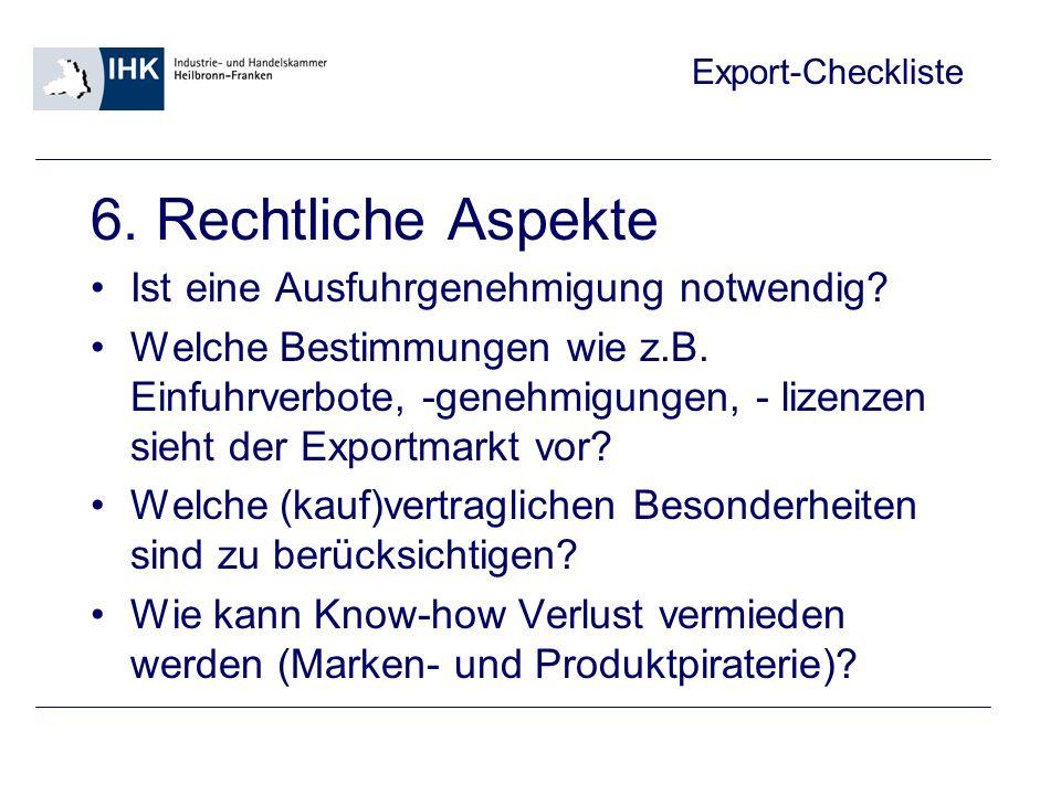 Export-Checkliste 7.
