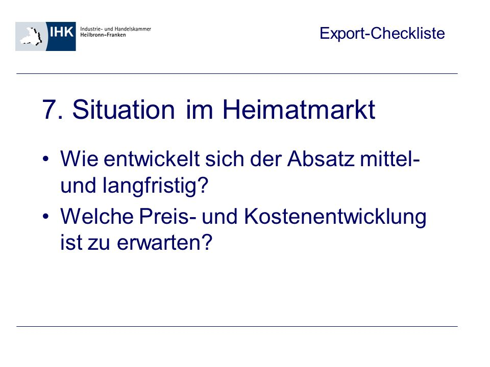 Export-Checkliste 7.