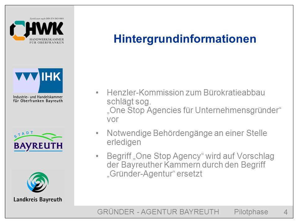 GRÜNDER - AGENTUR BAYREUTH Pilotphase 4 Hintergrundinformationen Henzler-Kommission zum Bürokratieabbau schlägt sog.