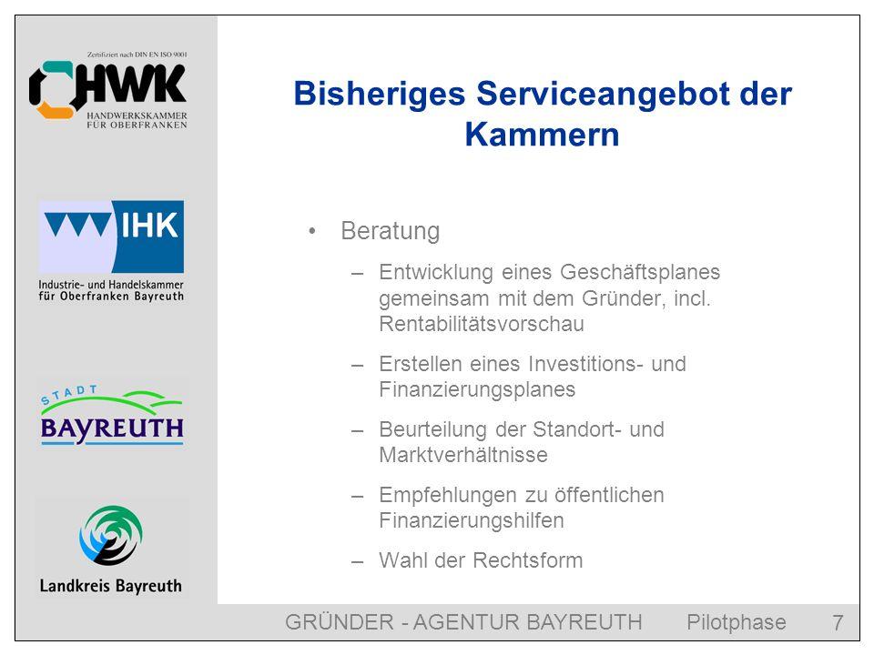 GRÜNDER - AGENTUR BAYREUTH Pilotphase 8 Bisheriges Serviceangebot der Kammern Informationen zu Formalitäten: –Gesetzliche Unfallversicherung / Berufsgenossenschaft –Sozialversicherung, incl.