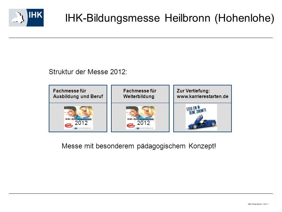 IHK-Bildungsmesse Heilbronn (Hohenlohe) Fachmesse für Ausbildung und Beruf Fachmesse für Weiterbildung 2012 Messe mit besonderem pädagogischem Konzept