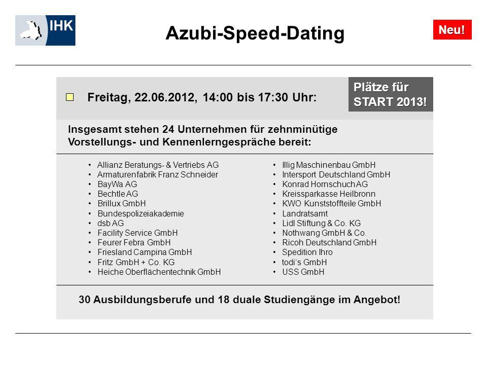 Azubi-Speed-Dating Insgesamt stehen 24 Unternehmen für zehnminütige Vorstellungs- und Kennenlerngespräche bereit: Freitag, 22.06.2012, 14:00 bis 17:30