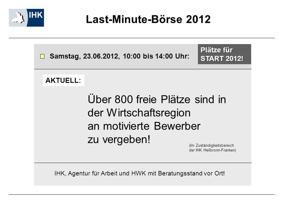 Last-Minute-Börse 2012 Samstag, 23.06.2012, 10:00 bis 14:00 Uhr: IHK, Agentur für Arbeit und HWK mit Beratungsstand vor Ort! Plätze für START 2012! Üb