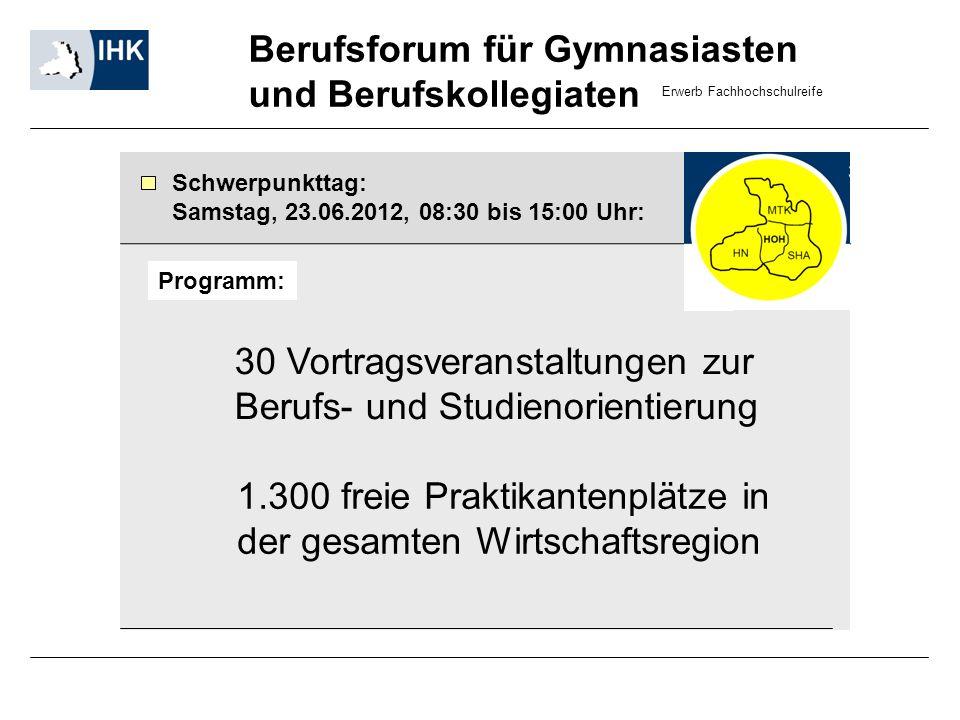 Berufsforum für Gymnasiasten und Berufskollegiaten Schwerpunkttag: Samstag, 23.06.2012, 08:30 bis 15:00 Uhr: 30 Vortragsveranstaltungen zur Berufs- un