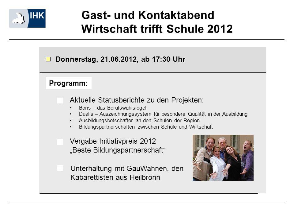 Gast- und Kontaktabend Wirtschaft trifft Schule 2012 Donnerstag, 21.06.2012, ab 17:30 Uhr Aktuelle Statusberichte zu den Projekten: Boris – das Berufs