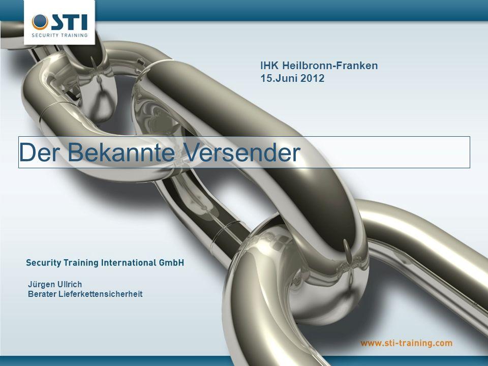 © STI GmbH 2011 1 Zertifizierungsverfahren Zertifizierungsprozess und notwendige Schulungsmaßnahmen für Bekannte Versender von Luftfracht Der Bekannte