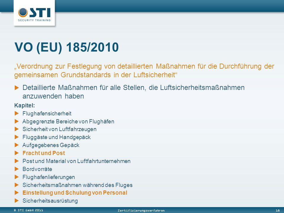 © STI GmbH 2011 18 Zertifizierungsverfahren VO (EU) 185/2010 Kapitel: Flughafensicherheit Abgegrenzte Bereiche von Flughäfen Sicherheit von Luftfahrze