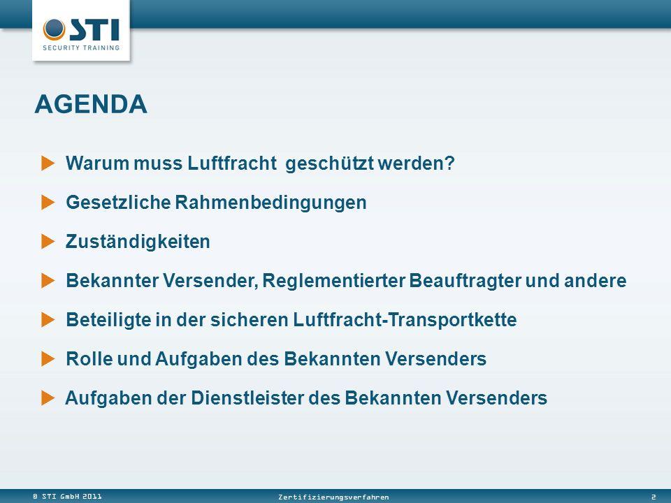 © STI GmbH 2011 2 Zertifizierungsverfahren Warum muss Luftfracht geschützt werden? Gesetzliche Rahmenbedingungen Zuständigkeiten Bekannter Versender,