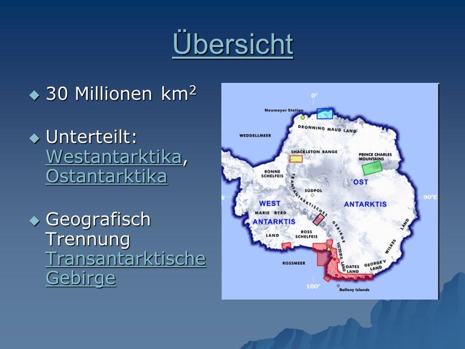 Übersicht 30 Millionen km 2 30 Millionen km 2 Unterteilt: Westantarktika, Ostantarktika Unterteilt: Westantarktika, Ostantarktika Westantarktika Ostan