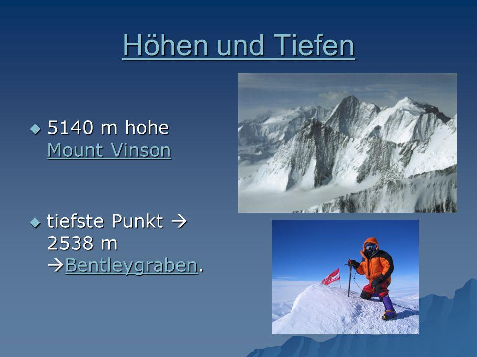 Höhen und Tiefen Höhen und Tiefen 5140 m hohe Mount Vinson 5140 m hohe Mount Vinson Mount Vinson Mount Vinson tiefste Punkt 2538 m Bentleygraben. tief