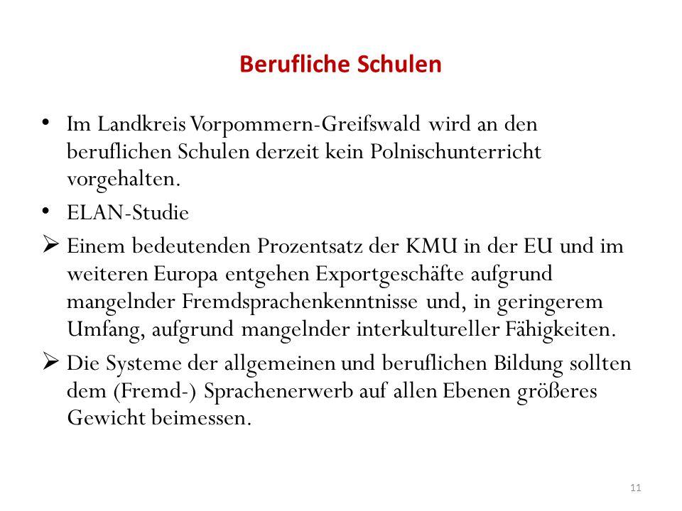 Berufliche Schulen Im Landkreis Vorpommern-Greifswald wird an den beruflichen Schulen derzeit kein Polnischunterricht vorgehalten.