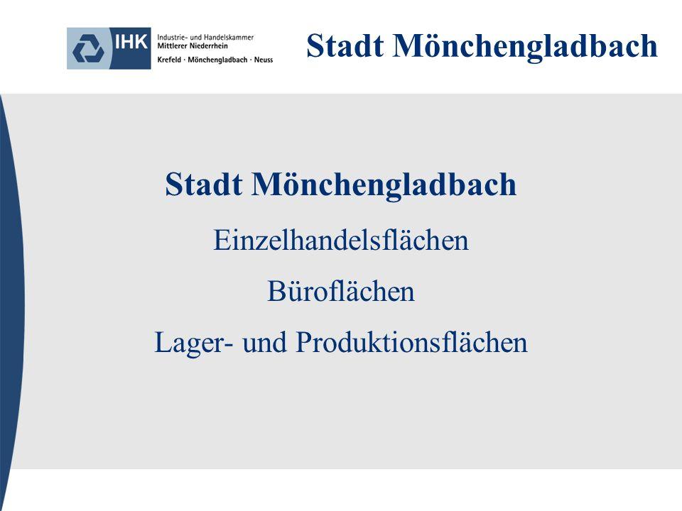 Stadt Mönchengladbach Einzelhandelsflächen Büroflächen Lager- und Produktionsflächen