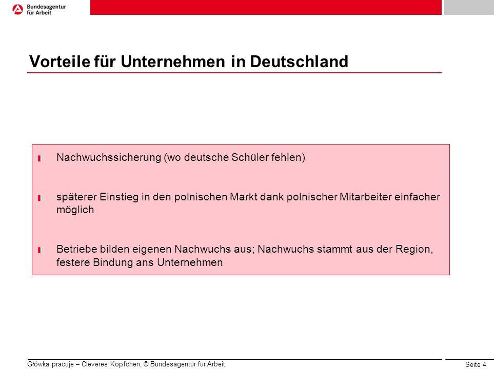 Seite 4 Główka pracuje – Cleveres Köpfchen, © Bundesagentur für Arbeit Vorteile für Unternehmen in Deutschland Nachwuchssicherung (wo deutsche Schüler