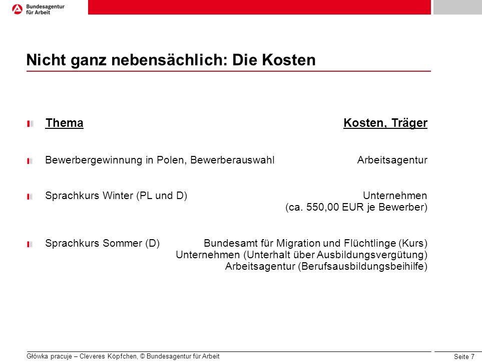 Seite 7 Główka pracuje – Cleveres Köpfchen, © Bundesagentur für Arbeit ThemaKosten, Träger Bewerbergewinnung in Polen, BewerberauswahlArbeitsagentur S