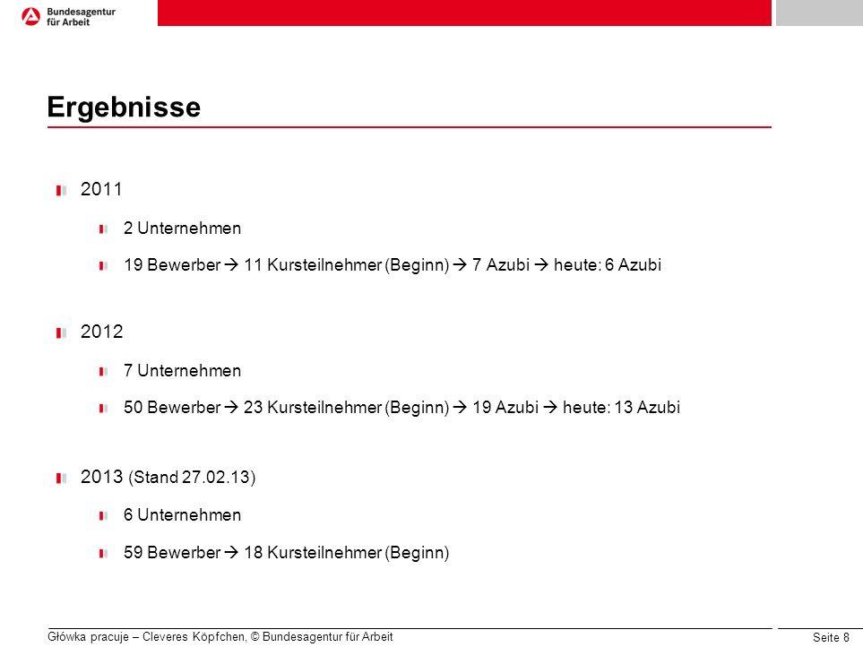 Seite 8 Główka pracuje – Cleveres Köpfchen, © Bundesagentur für Arbeit Ergebnisse 2011 2 Unternehmen 19 Bewerber 11 Kursteilnehmer (Beginn) 7 Azubi he
