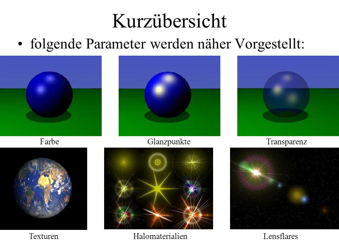 Kurzübersicht folgende Parameter werden näher Vorgestellt: FarbeGlanzpunkteTransparenz TexturenHalomaterialienLensflares