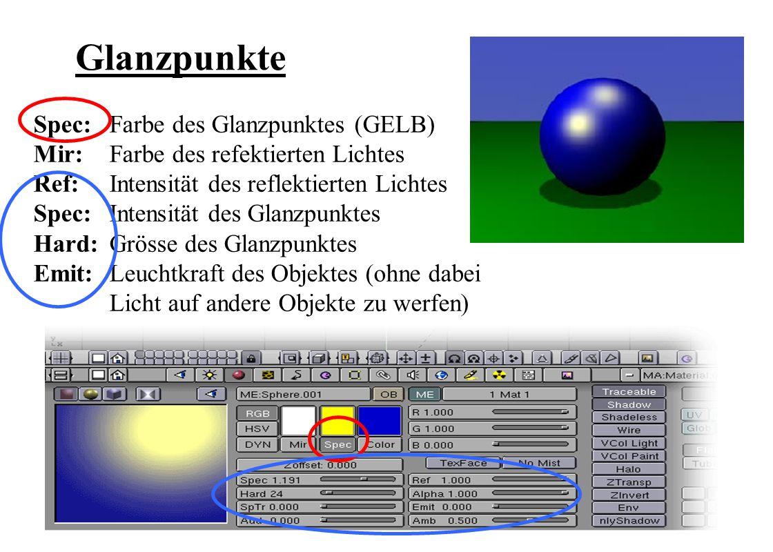 Glanzpunkte Spec:Farbe des Glanzpunktes (GELB) Mir:Farbe des refektierten Lichtes Ref:Intensität des reflektierten Lichtes Spec:Intensität des Glanzpunktes Hard:Grösse des Glanzpunktes Emit:Leuchtkraft des Objektes (ohne dabei Licht auf andere Objekte zu werfen)