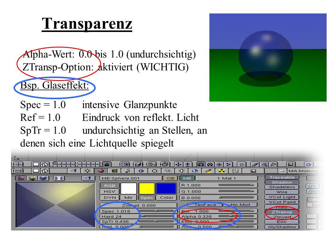 Transparenz Alpha-Wert: 0.0 bis 1.0 (undurchsichtig) ZTransp-Option: aktiviert (WICHTIG) Bsp.