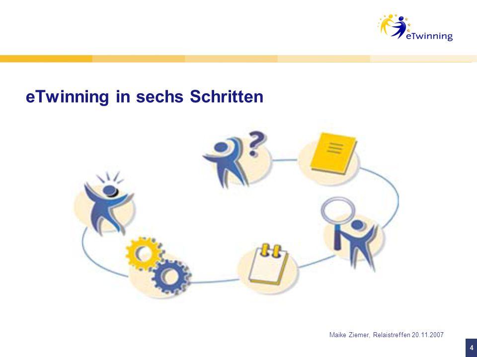 5 5 Maike Ziemer, Relaistreffen 20.11.2007 1. Schritt: Warum eTwinning?