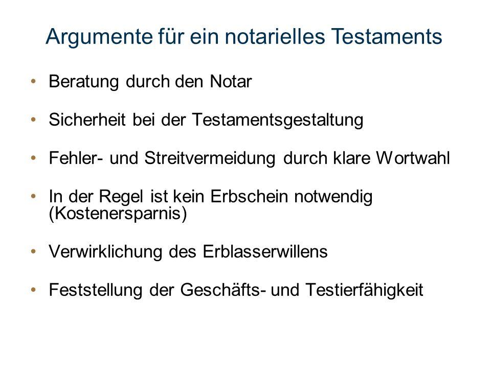 Beratung durch den Notar Sicherheit bei der Testamentsgestaltung Fehler- und Streitvermeidung durch klare Wortwahl In der Regel ist kein Erbschein not