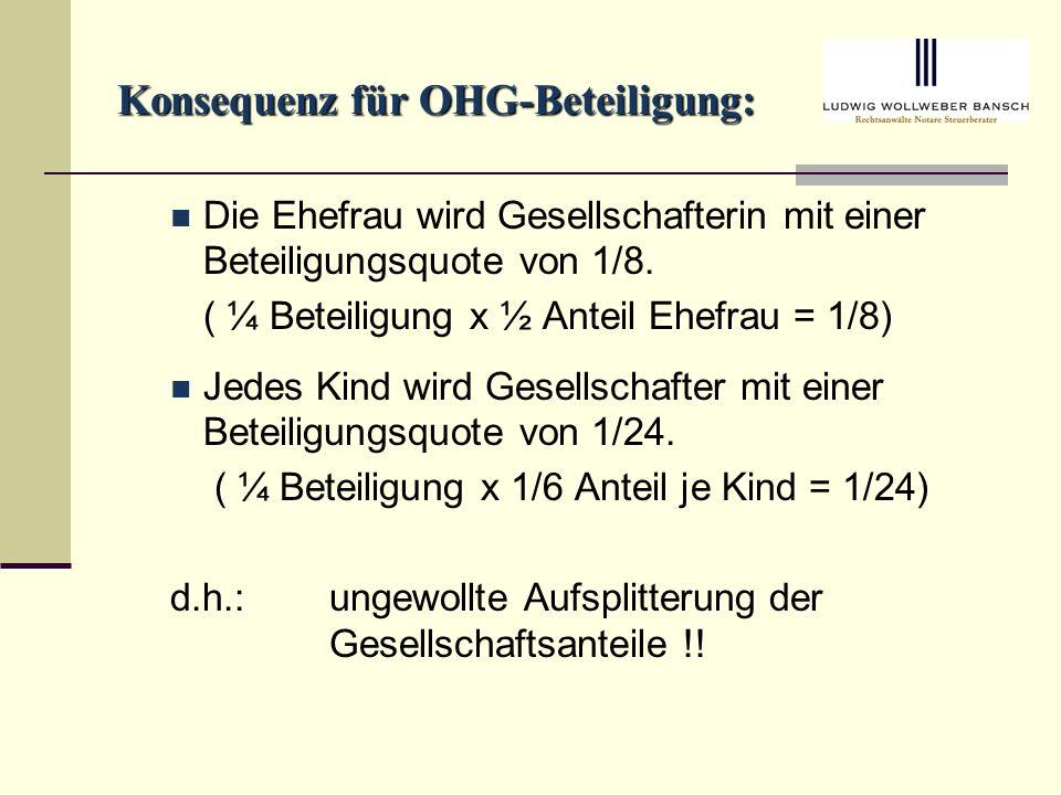 Konsequenz für OHG-Beteiligung: Die Ehefrau wird Gesellschafterin mit einer Beteiligungsquote von 1/8.