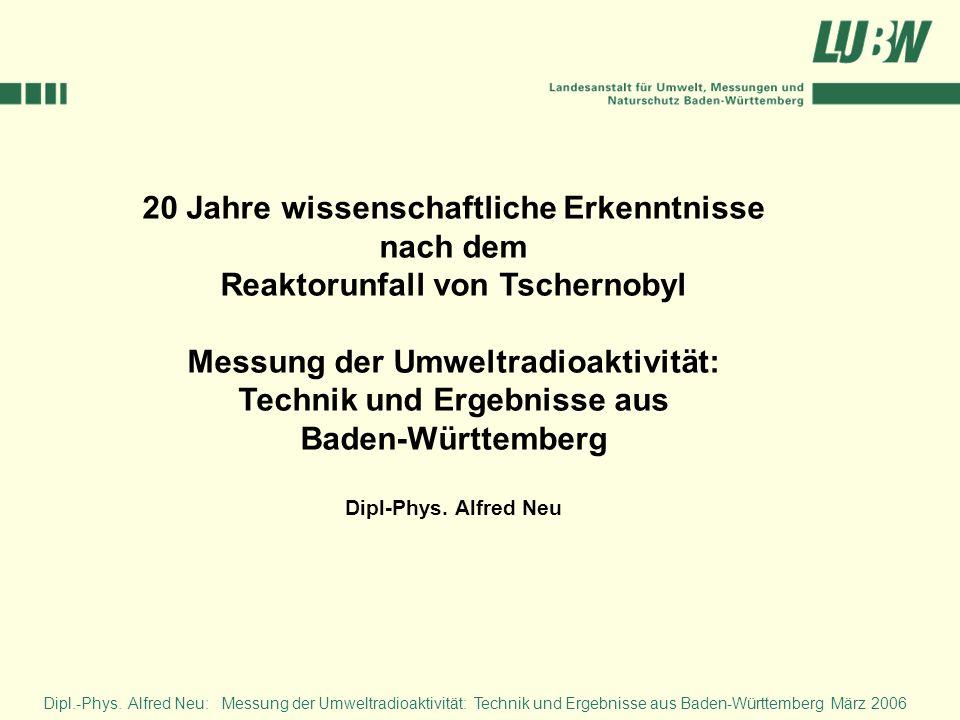 20 Jahre wissenschaftliche Erkenntnisse nach dem Reaktorunfall von Tschernobyl Messung der Umweltradioaktivität: Technik und Ergebnisse aus Baden-Würt