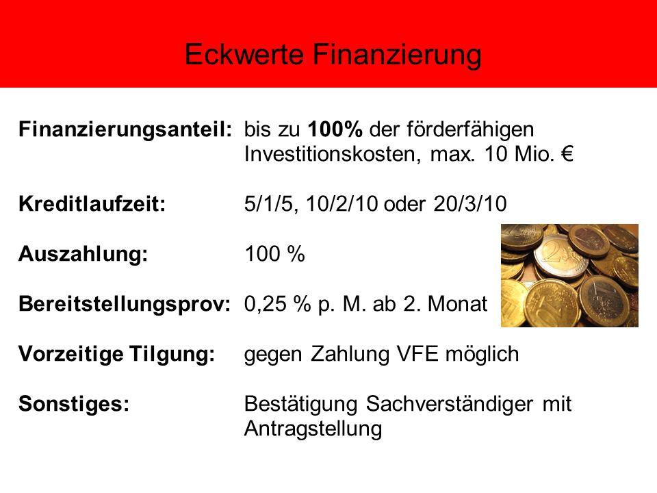 Eckwerte Finanzierung Finanzierungsanteil: bis zu 100% der förderfähigen Investitionskosten, max.