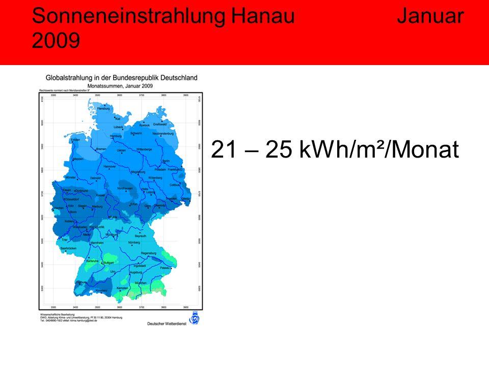 Sonneneinstrahlung Hanau Januar 2009 21 – 25 kWh/m²/Monat