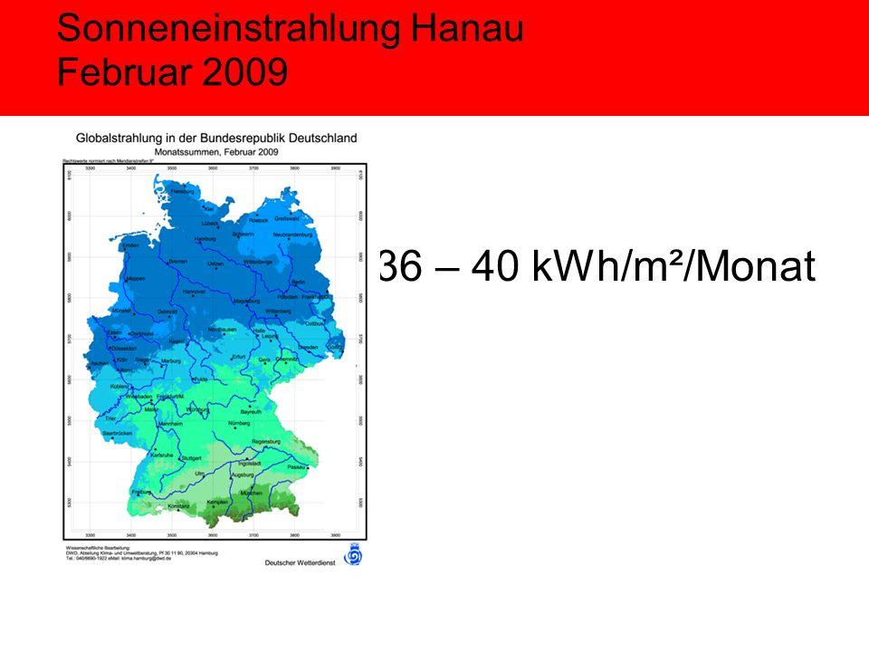 Sonneneinstrahlung Hanau Februar 2009 36 – 40 kWh/m²/Monat