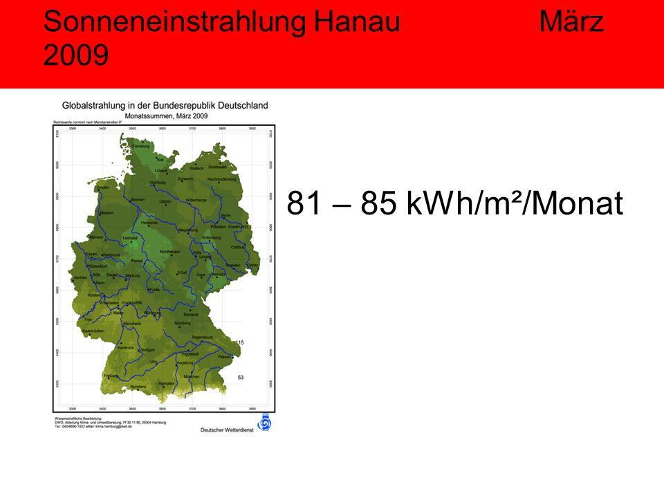 Sonneneinstrahlung Hanau März 2009 81 – 85 kWh/m²/Monat