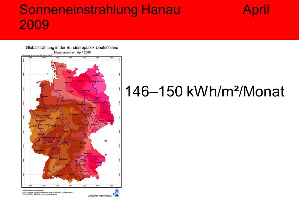 Sonneneinstrahlung Hanau April 2009 146–150 kWh/m²/Monat