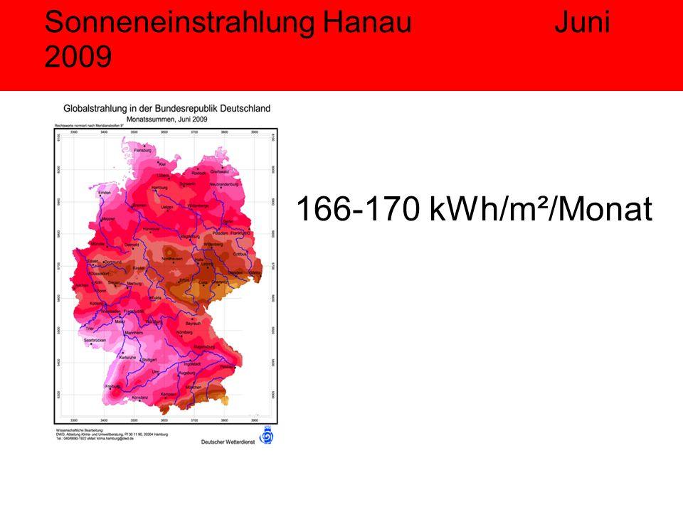 Sonneneinstrahlung Hanau Juni 2009 166-170 kWh/m²/Monat