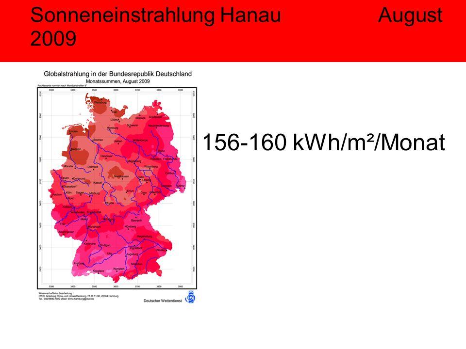 Sonneneinstrahlung Hanau August 2009 156-160 kWh/m²/Monat