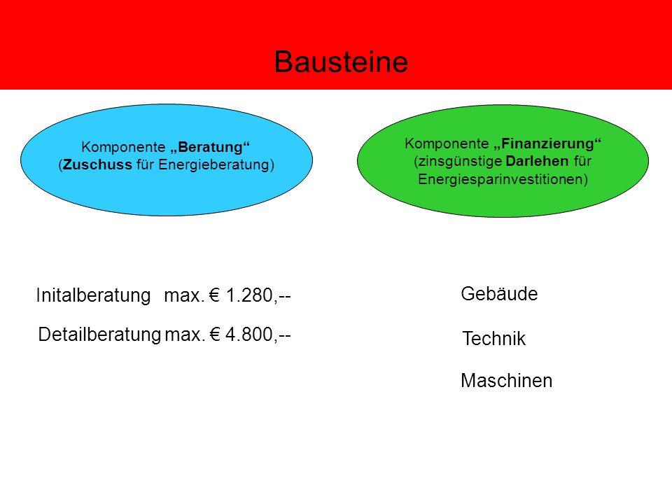 Bausteine Komponente Beratung (Zuschuss für Energieberatung) Komponente Finanzierung (zinsgünstige Darlehen für Energiesparinvestitionen) Initalberatung max.