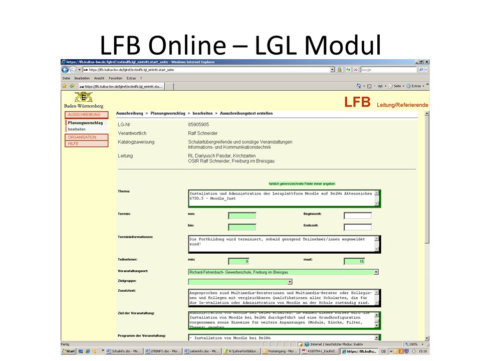LFB Online – LGL Modul