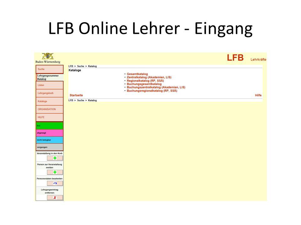 LFB Online Lehrer - Eingang