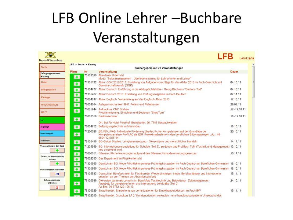 LFB Online Lehrer –Buchbare Veranstaltungen