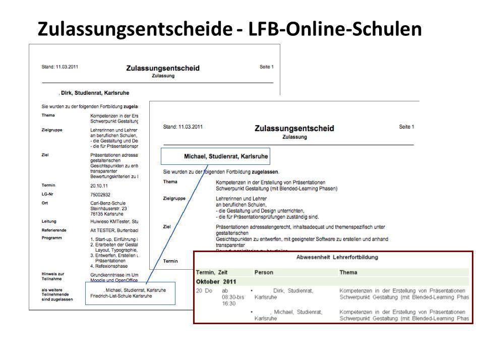 Zulassungsentscheide - LFB-Online-Schulen