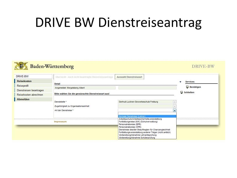 DRIVE BW Dienstreiseantrag