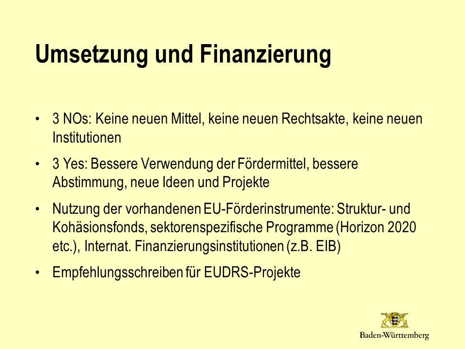 Umsetzung und Finanzierung 3 NOs: Keine neuen Mittel, keine neuen Rechtsakte, keine neuen Institutionen 3 Yes: Bessere Verwendung der Fördermittel, bessere Abstimmung, neue Ideen und Projekte Nutzung der vorhandenen EU-Förderinstrumente: Struktur- und Kohäsionsfonds, sektorenspezifische Programme (Horizon 2020 etc.), Internat.
