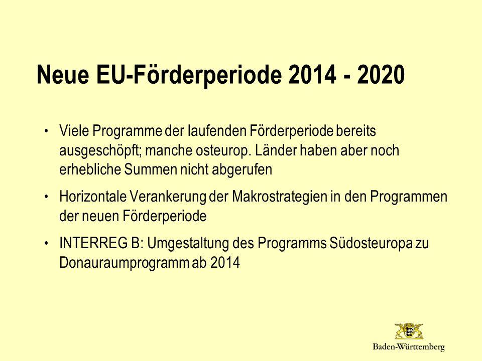 Neue EU-Förderperiode 2014 - 2020 Viele Programme der laufenden Förderperiode bereits ausgeschöpft; manche osteurop. Länder haben aber noch erhebliche