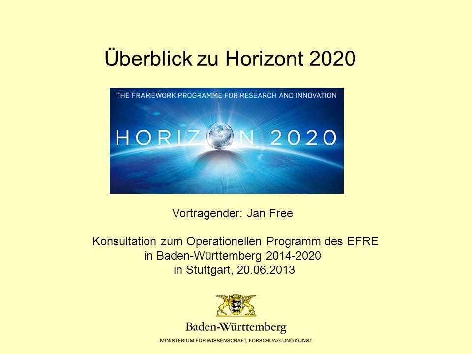 Überblick zu Horizont 2020 Vortragender: Jan Free Konsultation zum Operationellen Programm des EFRE in Baden-Württemberg 2014-2020 in Stuttgart, 20.06.2013