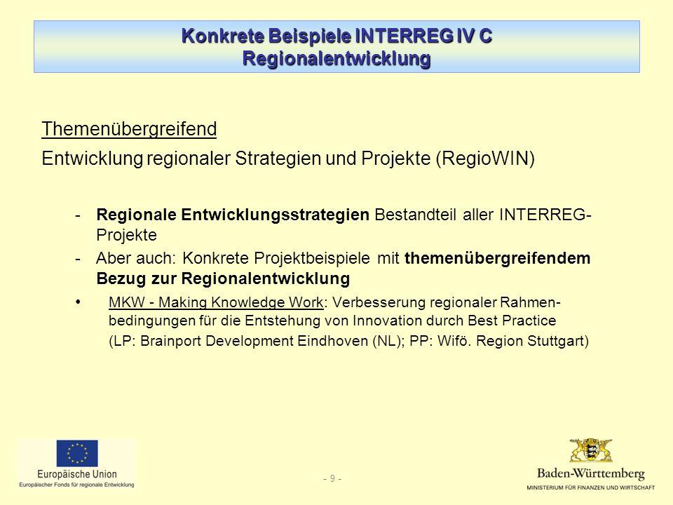 - 9 - Konkrete Beispiele INTERREG IV C Regionalentwicklung Themenübergreifend Entwicklung regionaler Strategien und Projekte (RegioWIN) -Regionale Entwicklungsstrategien Bestandteil aller INTERREG- Projekte -Aber auch: Konkrete Projektbeispiele mit themenübergreifendem Bezug zur Regionalentwicklung MKW - Making Knowledge Work: Verbesserung regionaler Rahmen- bedingungen für die Entstehung von Innovation durch Best Practice (LP: Brainport Development Eindhoven (NL); PP: Wifö.