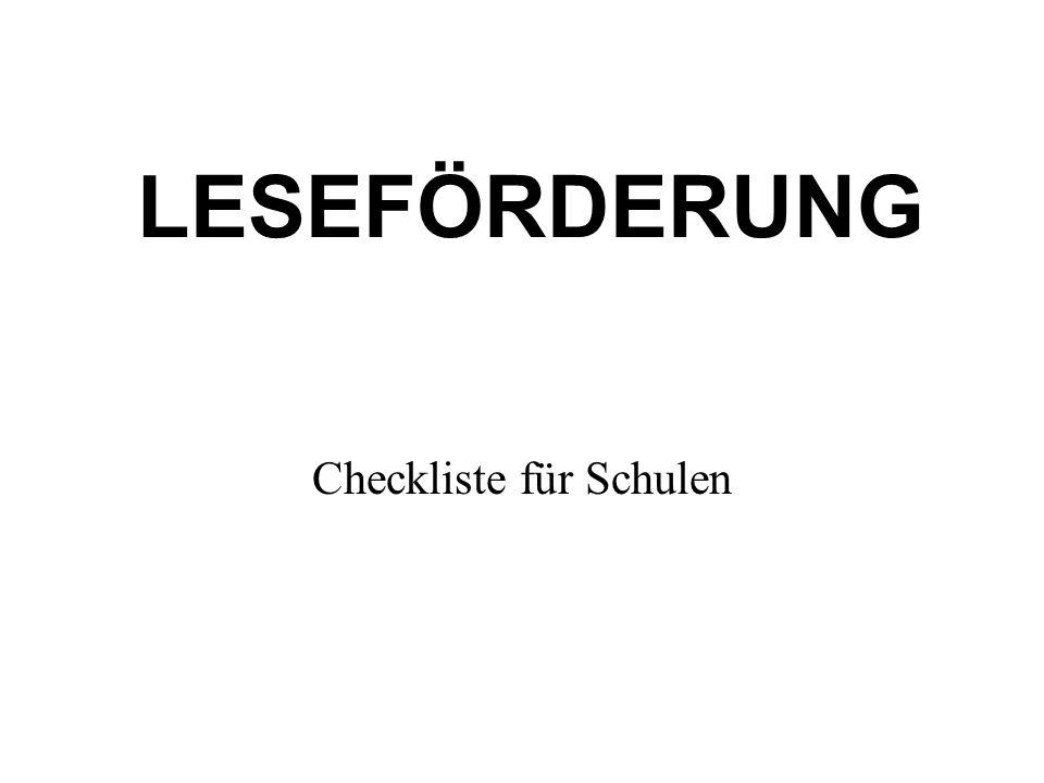 LESEFÖRDERUNG Checkliste für Schulen